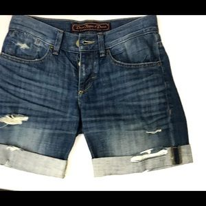 Divine Rights/Denim Distressed,Button Fly Shorts